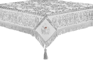 Embroidered Holy table cover no.1 (comb.) (white-silver)