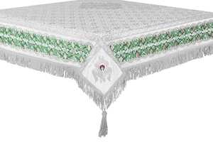 Embroidered Holy table cover no.3 (white-silver)