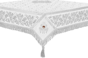 Embroidered Holy table cover no.10 (white-silver)