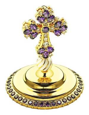 Jewelry mitre cross - A614 (gold-gilding)