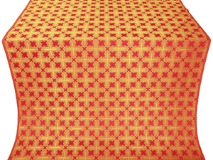 Pokrov silk (rayon brocade) (red/gold)