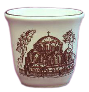 Porcelain glass for Holy water - 2308