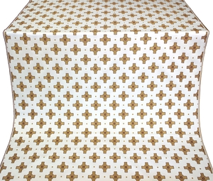 Bishop silk (rayon brocade) (white/gold/claret)