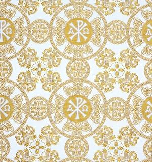 Sebastian silk (rayon brocade) (white/gold)