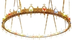 One-level church chandelier (horos) - 24 lights