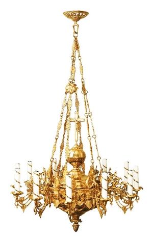 One-level church chandelier - 12 lights