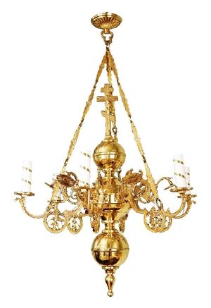 One-level church chandelier - 6 lights