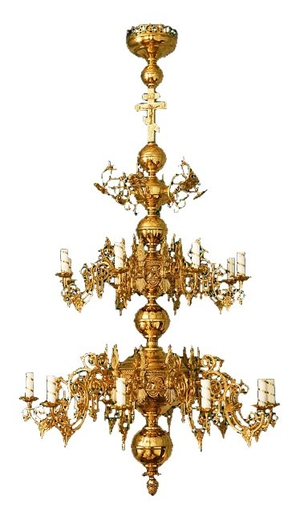 Two-level church chandelier - 18 lights