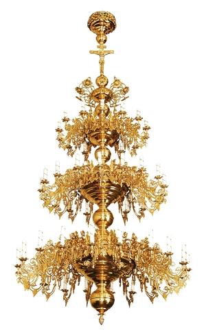 Three-level church chandelier - 52 lights