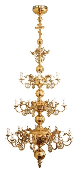Three-level church chandelier - 21 lights