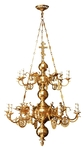 Two-level church chandelier - 15 lights