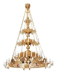 Three-level Byzantine church chandelier with horos - 88 lights