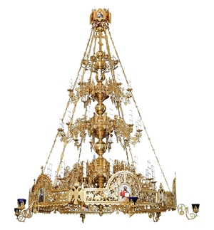 Three-level Byzantine church chandelier with horos - 36 lights