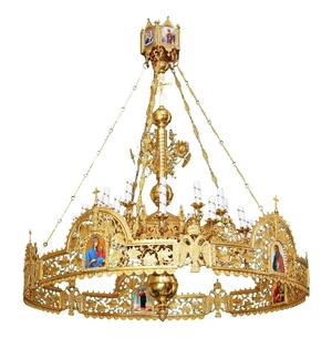One-level Byzantine church chandelier with horos - 24 lights