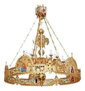 One-level Byzantine church chandelier with horos - 48 lights