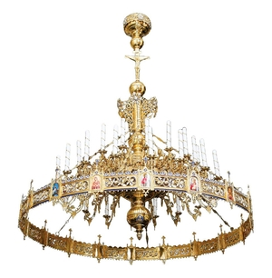 One-level Byzantine church chandelier with horos - 132 lights