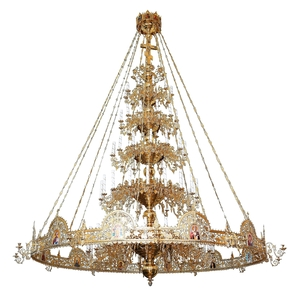 Five-level Byzantine church chandelier with horos - 88 lights
