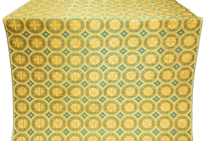 Posad Trinity rayon brocade (yellow/gold with blue)