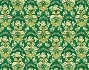 Radonezh silk (rayon brocade) (green/gold)