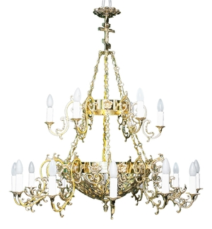 Two-layer church chandelier - 8 (18 lights)