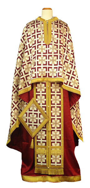 Greek Priest vestment -  metallic brocade BG4 (white-gold-claret)