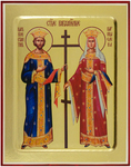 Icon: Holy Equal-to-the-Apostles Imperor Constantin and Impress Helen - G1 (5.1''x6.3'' (13x16 cm))