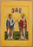 Icon: Holy Hierarchs Stt. Spyridon of Thremethius and Nicholas the Wonderworker - DS67 (3.3''x4.7'' (8.5x12 cm))
