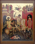 Icon: Holy Great Martyrs Stt. George the Winner Demetrius of Soloun' - B