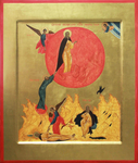 Icon: the Fiery Ascention of St. Prophet Elijah - O