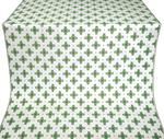 Bishop silk (rayon brocade) (white/gold with green)