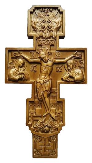 Wall carved cross - U1