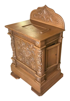Carved church donation table - U1