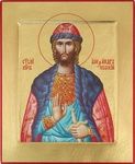 Icon: Holy Right-believing Great Prince Alexander of Neva - C14 (4.6''x5.7'' (11.8x14.6 cm))